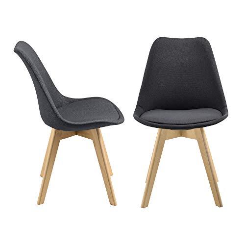 [en.casa] 2er-Set Design Esszimmerstühle 97x42cm Dunkelgrau Stoffbezug Polsterstuhl Stühle Wohnzimmerstuhl Küchenstuhl