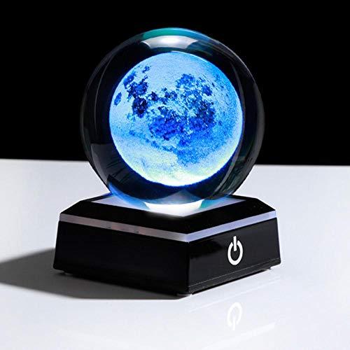 Piner 3D Moon Crystal Ball LED-basis Laser gegraveerde glazen bol Woondecoratie Crystal Craft Sphere ornament 8cm, Ball en vierkant zwart