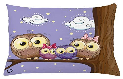 ABAKUHAUS Pájaro Funda para Almohada, Familia del Buho del Estilo De Dibujos Animados, Lavable con Cremallera Colores Firmes Estampa Digital, 65 x 40 cm, Lavanda Y Brown