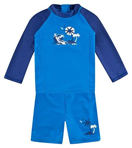 Landora®: Baby- / Kinder-Badebekleidung langärmliges UV-Schutz 2er Set in blau/Marine, Größe 98/104