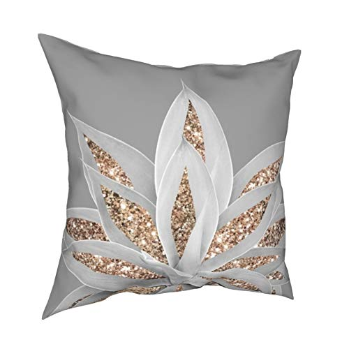 Reviews Gray Agave with Gold Glitter Shiny Pillow Covers Throw Pillowcase Decorative Cushion Cover for Sofa Bedroom Living Room 18x18 inch