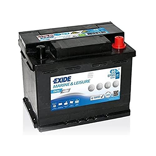 Exide Ep500 Dual Agm Batterie marine de loisir