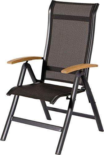 HARTMAN Alice Multipositionssessel in Xerix-Black, solides Aluminiumgestell, Sitzfläche aus hochwertiger Textilene, ca. 68 x 62 x 111,5 cm, Rückenlehne verstellbar, Teakholz-Armlehne, wetterfest
