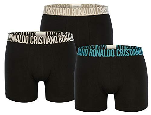 CR7 Cristiano Ronaldo - Basic - Boxershorts/Retroshorts für Herren (8100-49) - 3-Pack - Schwarz/Mix (2712) - Grösse Large (CR7-JBS-8100-49-2712-L)