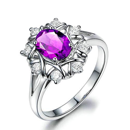 Bishilin Anillo de Plata de Ley 925 para Novia Ajuste Cómodo Anillos de Amistad Púrpura Oval Cristal Piedra del Zodíaco Alianza de Compromiso Muy Pulida con Bolsa de Joyeríaplata Talla: 22