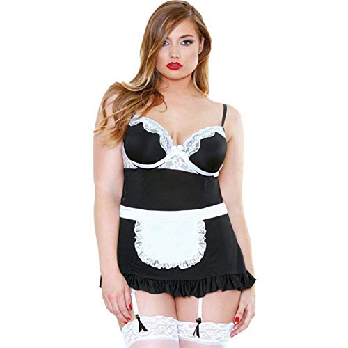 Fantasy Lingerie Curve X-Large/2X-Large Black Night Service Maid Kostuum voor Vrouwen