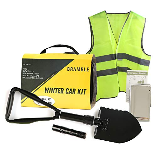 Bramble 6 Pack Kit de Emergencia Coche, Invierno - Asistencia en Carretera, Kit de Supervivencia de Seguridad| Chaleco Reflectante, Pala Plegable, Manta de Emergencia etc