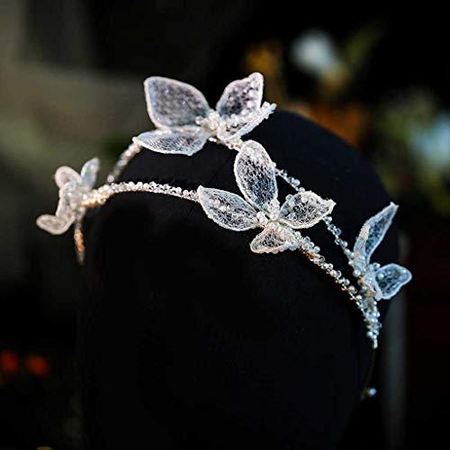 YUTRD ZCJUX Handgemachte romantische Prinzessin Hochzeit Haarband Weiß Seide Garn Krone Pageant Prom Stirnband Haarschmuck