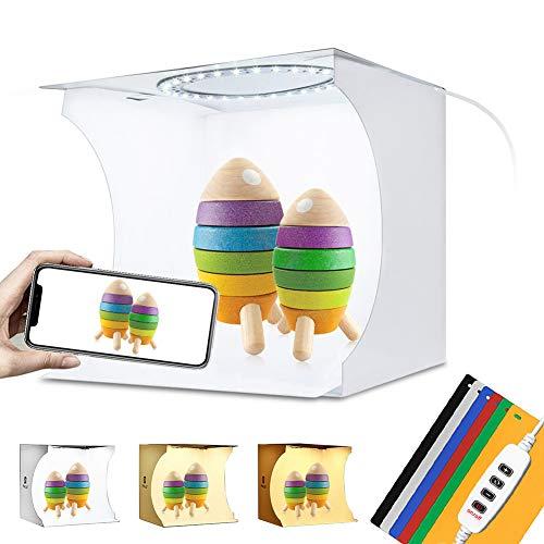 TSLEEN Light Box Photography, Mini Portable Photo Studio Box, Jewellery - Small Item - Product Photography, Lightbox (Extra Dual-Port USB Charger, 3.3ft USB Cord, 6 Backdrops)