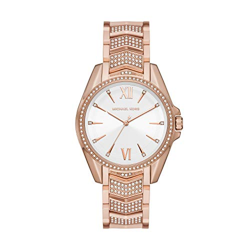 Michael Kors Women's Whitney Quartz Watch with Stainless Steel Strap, Pink, 18 (Model: MK6858)