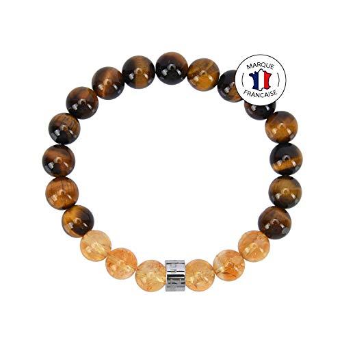 Pulsera de Abundancia y Prosperidad - Piedras naturales certificadas en 8mm - Ojo de Tigre de Sudáfrica / Citrino de Brasil - Perla de acero inoxidable AZ - Pulsera elástica - Hecha a mano 1517