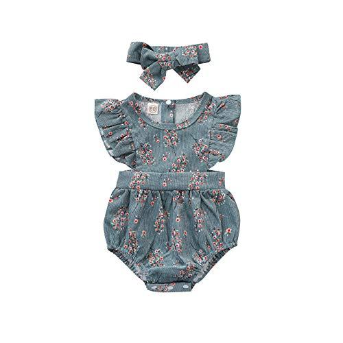 Conjunto de 2 piezas para recién nacidos con mangas de mosca y diadema para niños y niñas