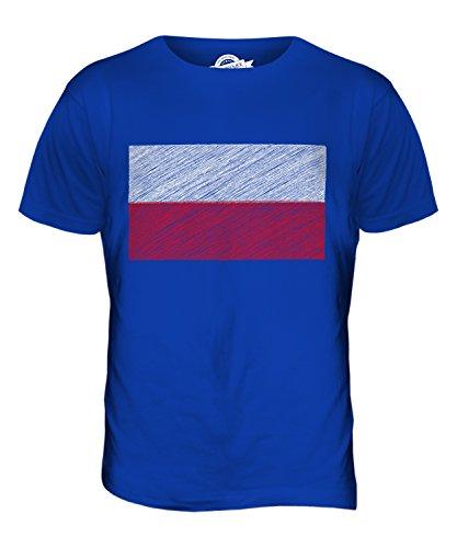 Candymix Polen Kritzelte Flagge Herren T Shirt, Größe 5X-Large, Farbe Königsblau