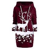 MORCHAN Cadeaux de noël Femmes Reindeer Monochrome Noël Imprimé Mini Robe Capuche avec Cordon de Serrage(Small,Vin Rouge)