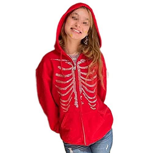 Oversized Zip Up Hoodie Sweatshirt voor Vrouwen Y2k Gothic Skeleton Print Pullover Vest met Pocket