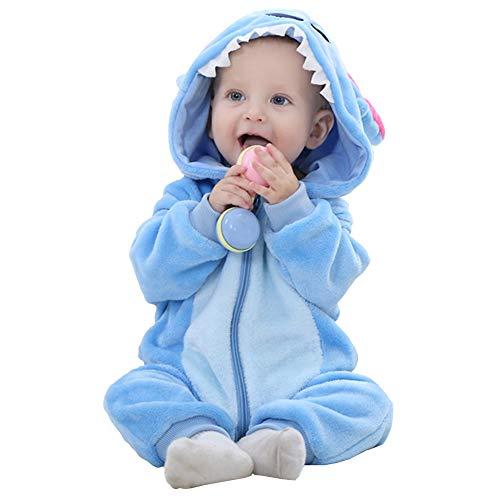 Neonato Pagliaccetto con Cappuccio Prima Infanzia Flanella Jumpsuit Animato Abbigliamento Infantile Tute Pigiama (Lilo,70cm)