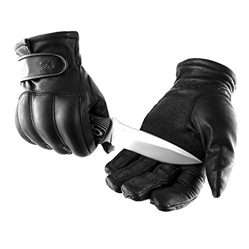 OBRAMO Quarzsand Lederhandschuhe schnitthemmend Einsatzhandschuhe Tactical Security, Schwarz, S