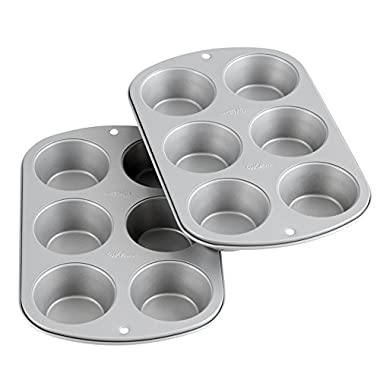 Wilton 2109-6832 Recipe Right Non-Stick 6 Standard 2 Muffin Pan Multipack, 6-Cup (2-Pk.), Assorted