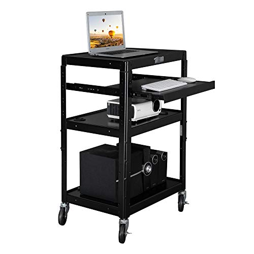 TUFFIOM AV Presentation Cart for Video Projector, TV, Laptop Computer, Mobile Workstation Utility Media Cart for School Classroom Office, Rolling Storage Stand with Keyboard Shelf