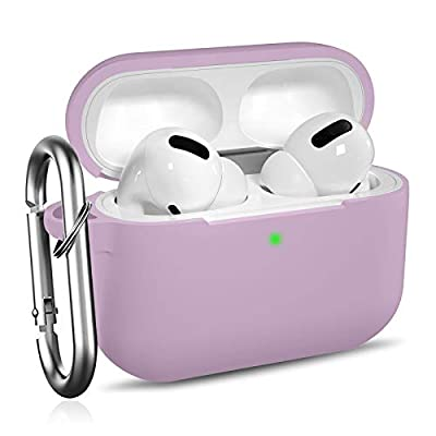 Ouwegaga Compatible with AirPods Pro Case - Shockproof Protective Silicone Skin Case Cover [Front LED Visible] with Carabiner Compatible for AirPods Pro - Lavender from Ouwegaga