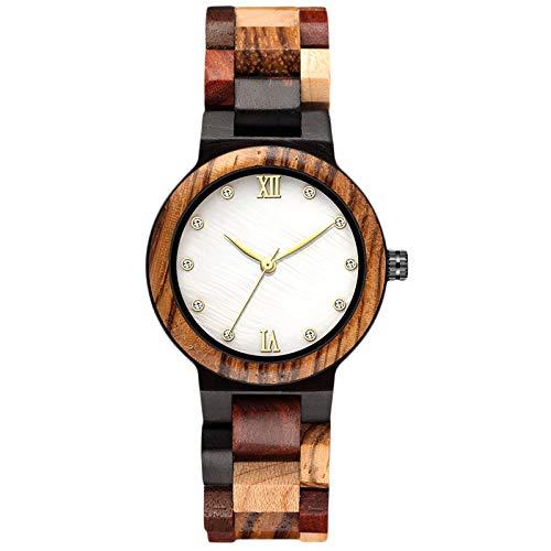 RORIOS Relojes Madera para Mujer Analógico Cuarzo Japonés con Correa de Madera Vintage Relojes de Pulsera Moda Natural Relojes para Mujeres