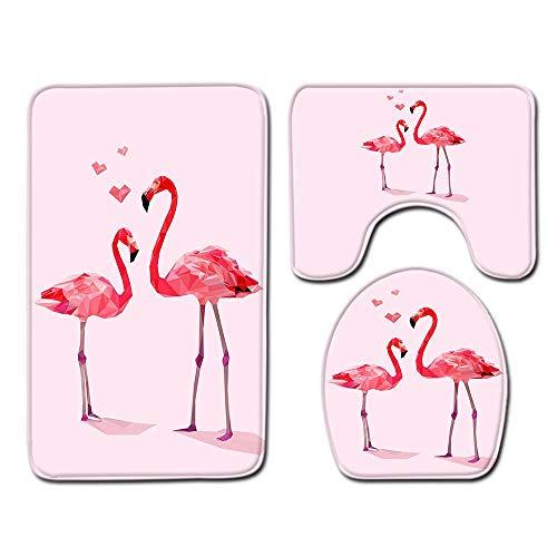 WXYGJYG Alfombra de Baño 3 Piezas 45X75 cm Flamenco Suave Absorbente Antide Slizante Alfombra de Baño Alfombras y Tapa Inodoro Juego Lavable, para Baño, Cocina Sala de Estar(Rosa)