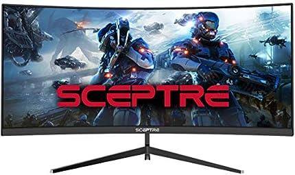Monitor Sceptre para juegos, curvado, de 30 pulgadas, 21:9 2560x1080, ultra ancho, ultra delgado, HDMI, DisplayPort, hasta 200Hz, altavoces integrados, metal negro, C305B-200UN