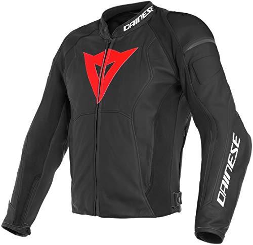 Dainese Motorradjacke mit Protektoren Motorrad Jacke Nexus Lederjacke schwarz/rot/schwarz 52 (L), Herren, Sportler, Ganzjährig