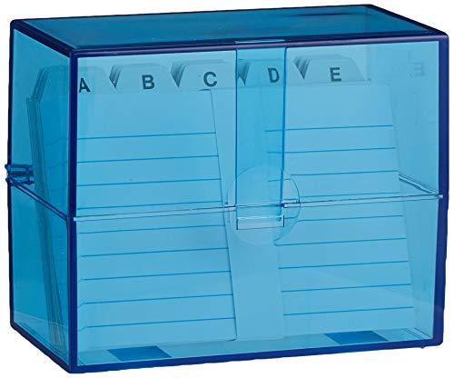 Wedo 2507303 Box Schedario Riempito, DIN A7/200, 11.8 x 6.3 x 9.7 cm, Trasparente/Blu