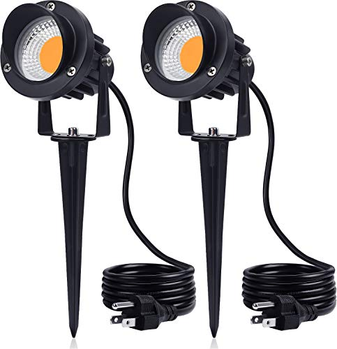 SUNVIE 15W Landscape Lighting LED Spotlight Outdoor 120V AC Waterproof Landscape Lights Spot Lights for Yard with Spiked Stake Warm White Flag Lights Garden Decorative Lamp with US 3-Plug in (2 Pack)