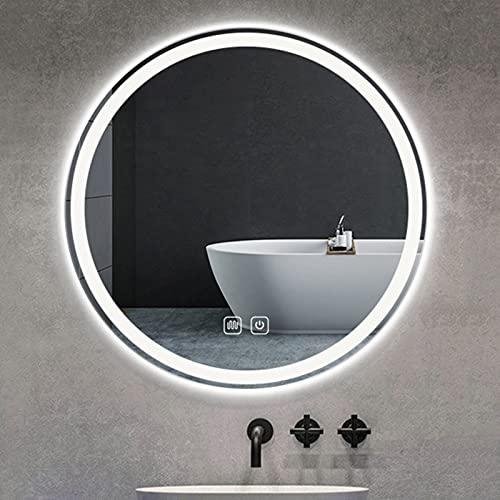 QFFL Espejo LED para Baño con Luces, Anti Niebla, a Prueba de Roturas, 3000K-6000K Regulable, Redondo Espejo de Maquillaje de Vanidad, 20/24/28/31 Pulgadas (Size : 50cm/20in)