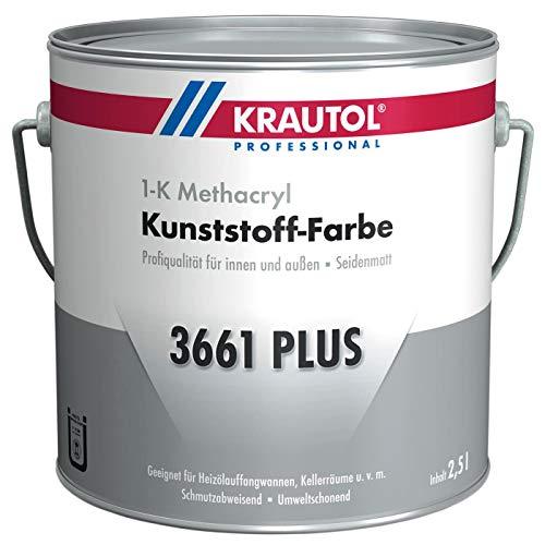 Krautol Kunststoff-Farbe 3661 Plus, RAL 7030 steingrau, 1K Beschichtung für Wand und Boden, 2,5 Liter