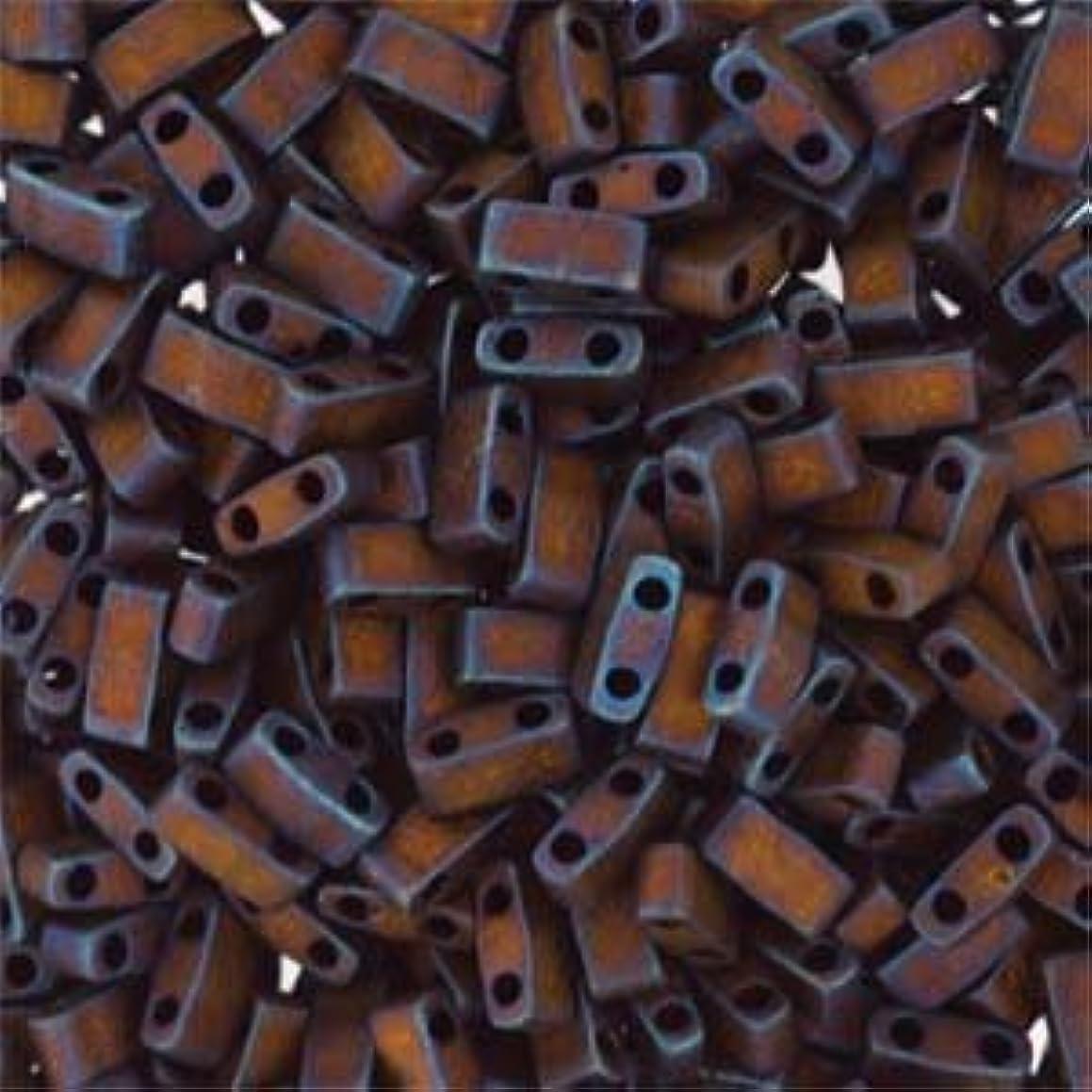 Miyuki Half Tila Beads 2 Hole Rectangle Seed Beads 2.3 x 5mm 7.8 Grams Matte Metallic Copper