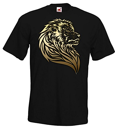 Herren T-Shirt Shirt Galatasaray Istanbul, Löwe Aslan, Schwarz, XL