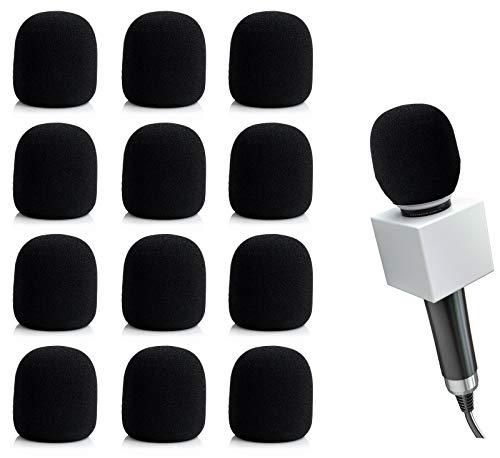 GLOBALDREAM Filtro Antiviento Microfono, 12 Piezas Esponja Microfono Cubierta de Micrófono, Perfecto para Grabación, 2,95 x 2,36inches/75mm x 60mm, Negro