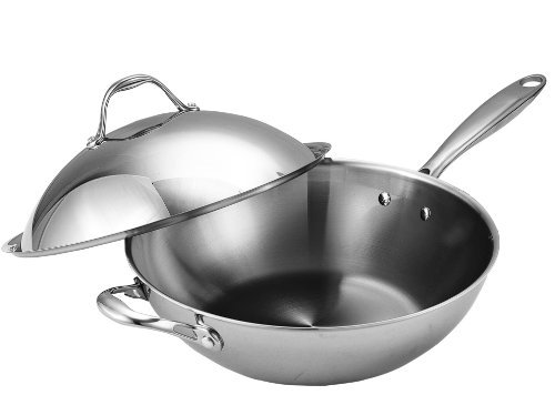 Cooks Standard Multi-Ply Clad Stainless-Steel 13-Inch Wok with Dome Lid by Cooks Standard