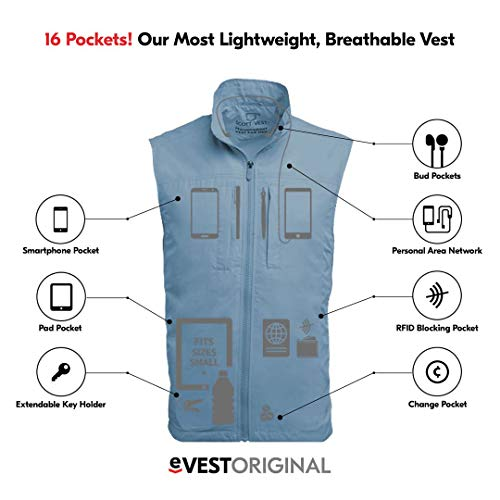 Product shot of a travel vest with graphics showing the jacket's features.