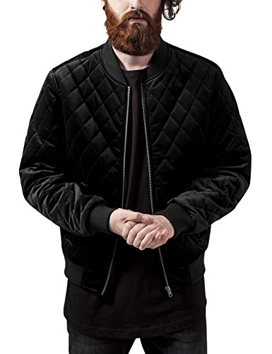 Urban Classics Herren Diamond Quilt Velvet Jacket Jacke, Schwarz (Black 7), Small (Herstellergröße: S)