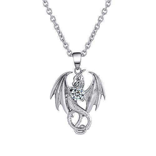 Dragon Necklace for Men or Women Stainless Steel Cubic Zirconia Punk Gothic Vintage Look Mythical Pendant with Chain Fantasy Fashion Jewelry by Ginger Lyne
