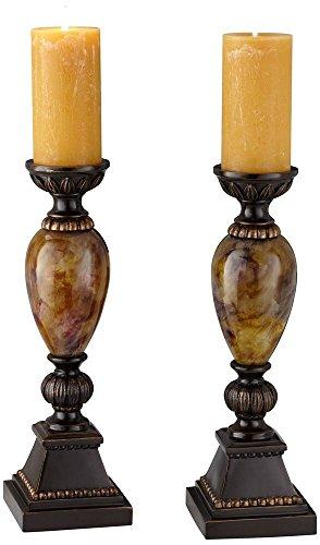 "kathy ireland Mulholland 16"" H Pillar Candle Holders Set of 2"