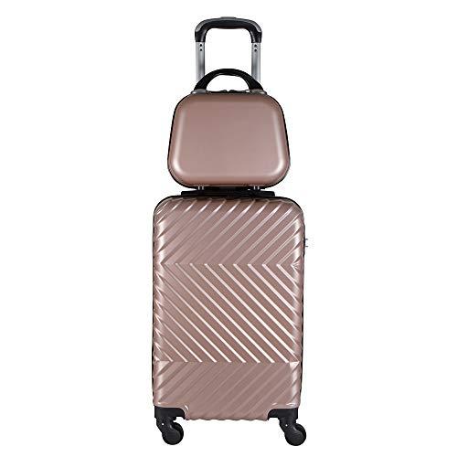 Kit mala bordo com frasqueira de mao em ABS - Roncalli Linkce (Rosê)