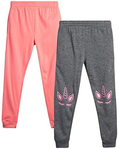 Real Love Girls' Sweatpants – 2 Pack Active Fleece Jogger Pants (Size: 7-16), Grey/Pink Unicorn, Size 7/8