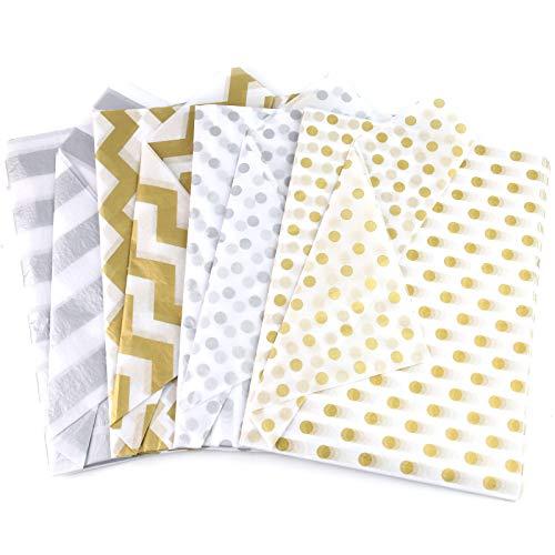 VGOODALL Seidenpapier, 80 Blatt Geschenkpapier Metallic Seidenpapier Gold Silber für Geschenk Geburtstag Hochzeit Hochzeit Weihnachten