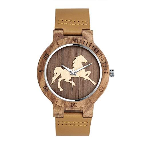 Unendlich U-Moda Casual Reloj de Madera de Bambú para Mujer y Hombre Reloj de Cuarzo Negocios con la Correa de Cuero Genuino Idea Regalo Navidad Diseño en Caballo
