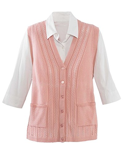National Classic Sweater Vest - Pointelle Knit Detail, Button-Front & Patch Pockets, Soft Rose, Small