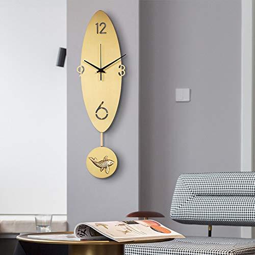 LG Snow Reloj de pared Golden Koi para sala de estar, diseño de cobre puro, estilo nórdico, 15,5 x 55,5 cm