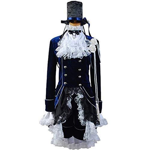 prettycos Anime Cosplay Femmes Costume Ciel Phantomhive Uniforme a Manches Longues en Velours Bleu Royal Ensemble Complet,M