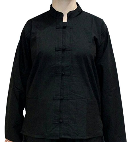 Jacke Thai Baumwolle, mit Taschen, Kragen Mao in Schwarz, Kurta Thai, Weiß, KTH.01 Small