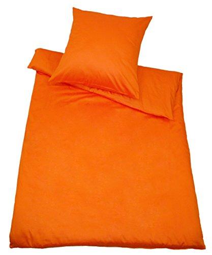 Kinzler B-10002/09 hochwertige Baumwoll-Satin Bettwäsche Uni, modern, 80x80 + 155x220 cm, orange