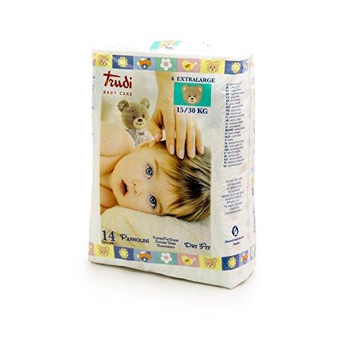 Trudi Baby Care Pannolini Dry Fit XL 15-30 Kg, Bianco, 30 Grammi